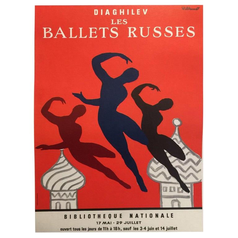 Original Vintage Poster Les Bellet Russes by Villemot For Sale