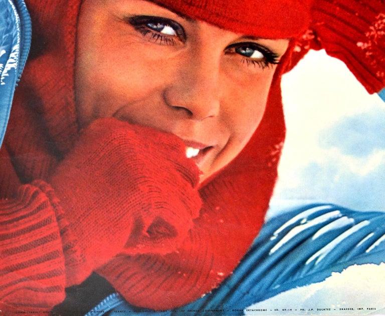 French Original Vintage Poster Les Deux Alpes Isere France Skiing Winter Sport Travel For Sale