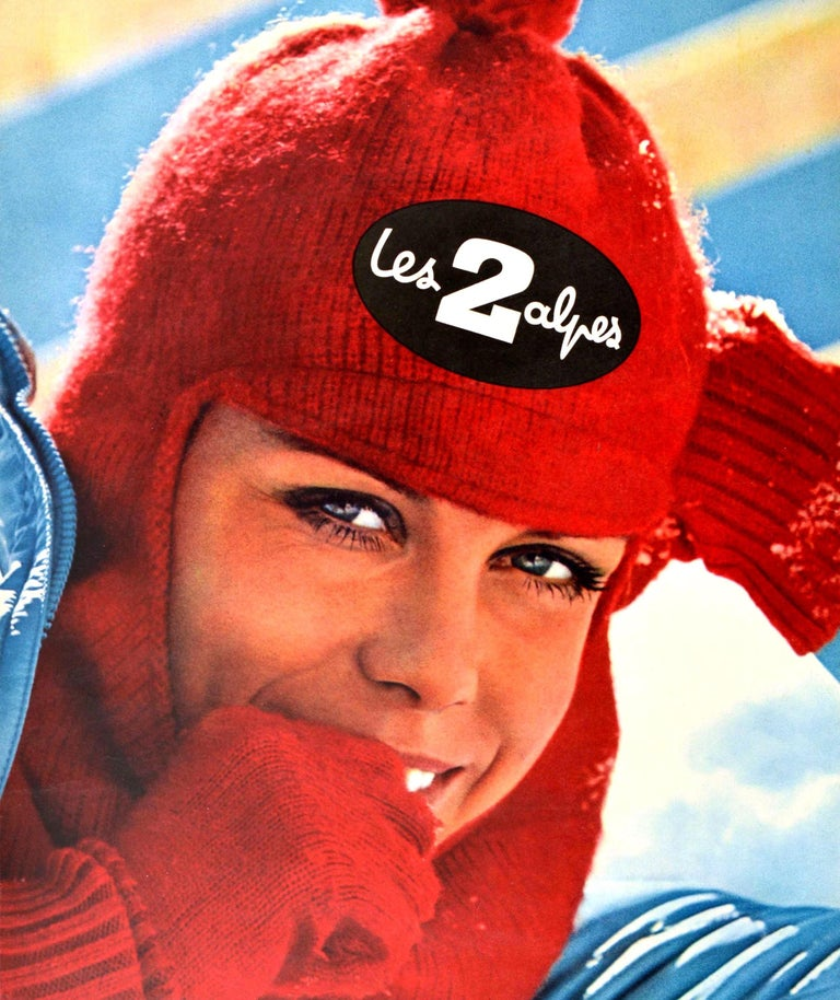 Original Vintage Poster Les Deux Alpes Isere France Skiing Winter Sport Travel In Good Condition For Sale In London, GB