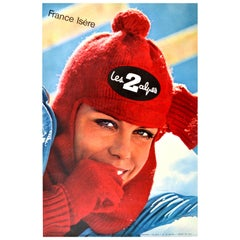 Original Vintage Poster Les Deux Alpes Isere France Skiing Winter Sport Travel