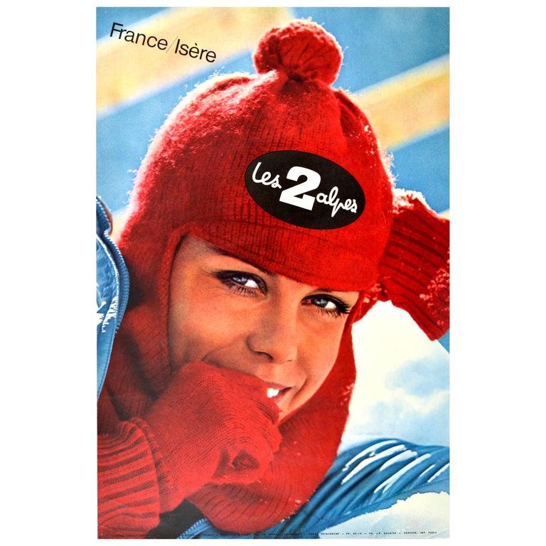 Original Vintage Poster Les Deux Alpes Isere France Skiing Winter Sport Travel For Sale