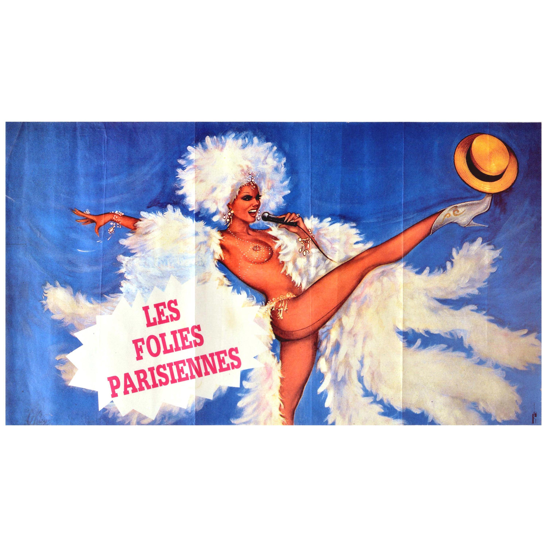 Original Vintage Poster Les Folies Parisiennes Cabaret Dancer Showgirl Paris