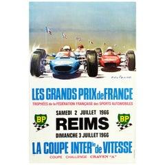 Original Vintage Poster Les Grands Prix De France Auto Racing F1 Cars Motorsport