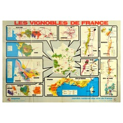 Original Vintage Poster Les Vignobles De France Wine Region Map French Vineyards