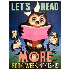 Original Vintage Poster Let's Read More Children's Books Education Owl Design