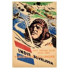 Original Vintage Poster Liberate Dutch East Indies Indie Bevrijden WWII Pilot