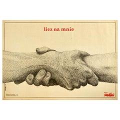 Original Vintage Poster Licz Na Mnie Solidarnosc Poland Solidarity Count On Me