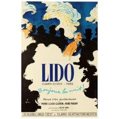Original Vintage Poster Lido Paris Bonjour La Nuit Cabaret Bluebell Girls Troupe