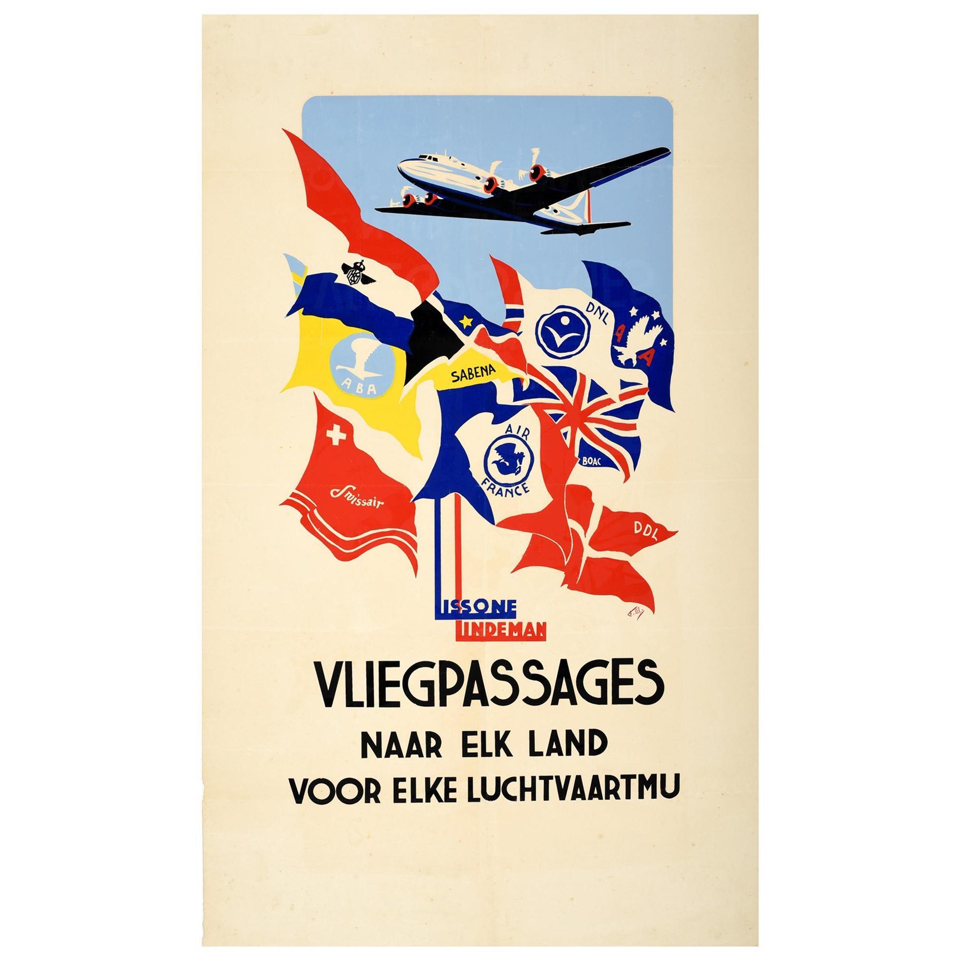 Original Vintage Poster Lissone Lindeman Vliegpassages Airline Travel Aviation