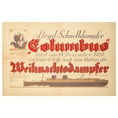 Original Vintage Poster Lloyd Schnelldampfer Columbus Steamship Cruise Travel