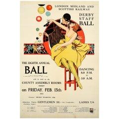 Original Vintage Poster LMS Railway Derby Staff Ball 1931 Art Deco Mask Dancing