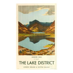 Original Vintage Poster LMS Railway Travel Lake District Honister Crag Mountains