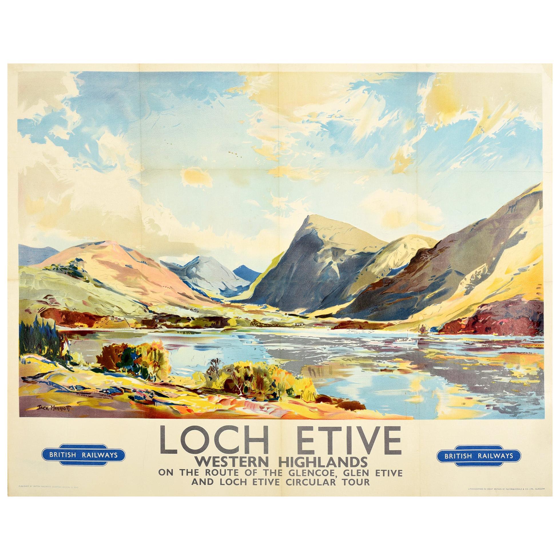 Original Vintage Poster Loch Etive Western Highlands Scotland British Railways