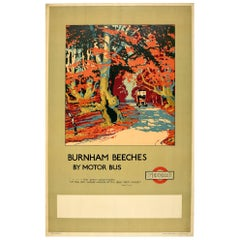 Original Vintage Poster London Transport Burnham Beeches Motor Bus Woodland Poem