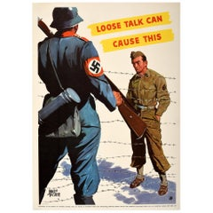 Original Vintage Poster Loose Talk Can Cause This WWII Prisoner Of War Military