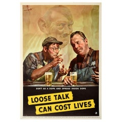 Original Vintage Poster Loose Talk Can Cost Lives Don't Be A Dope WWII Warning