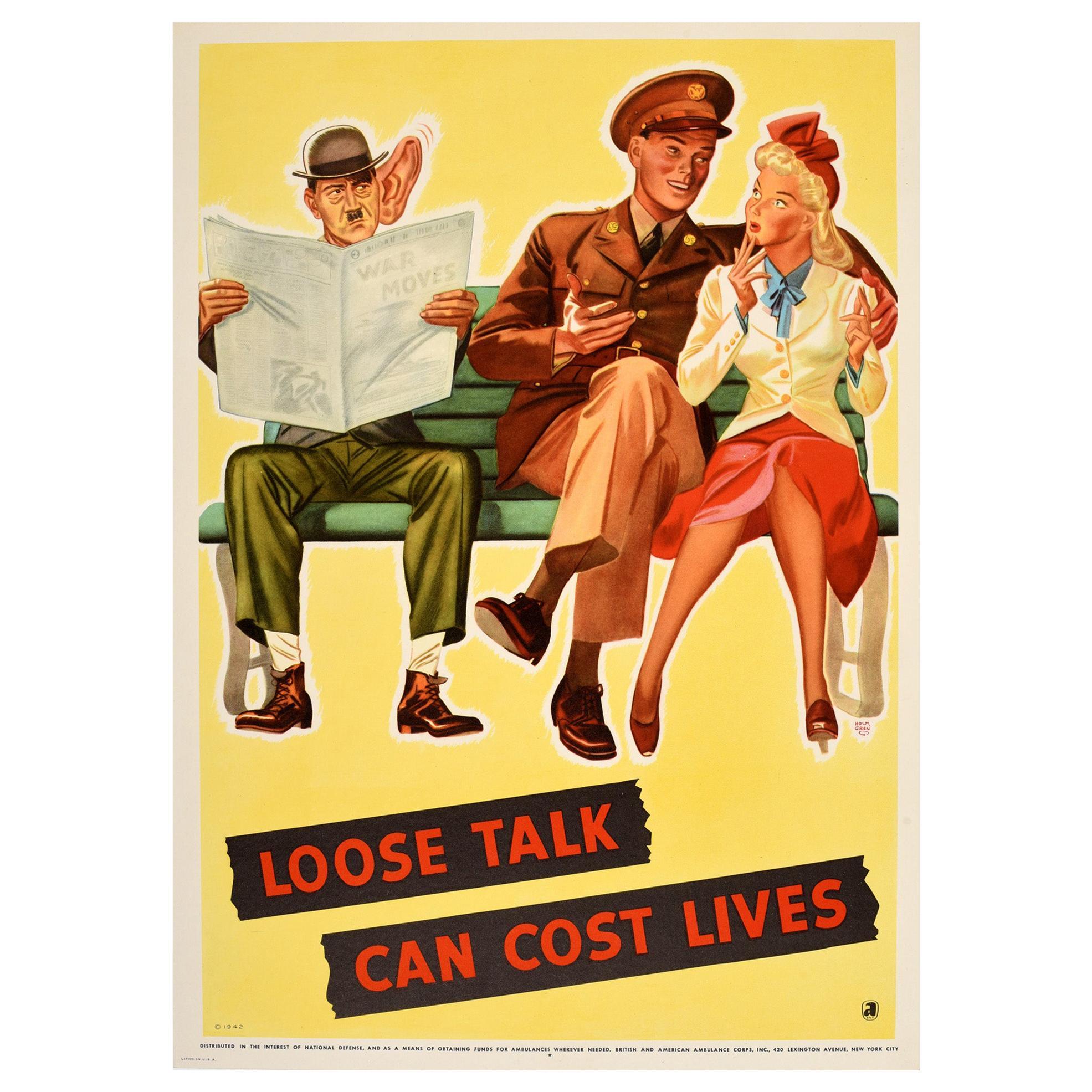 Original Vintage Poster Loose Talk Can Cost Lives WWII War News National Defense