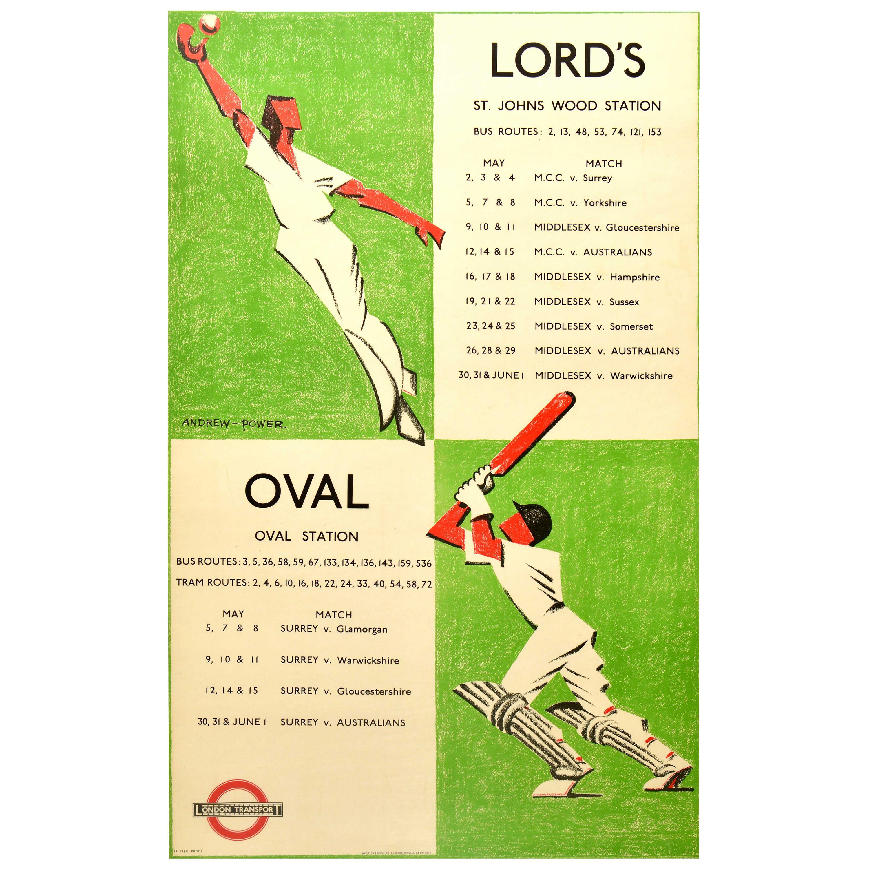 Original Vintage Poster Lord's Cricket Oval London Transport Bus Tram Sport Game