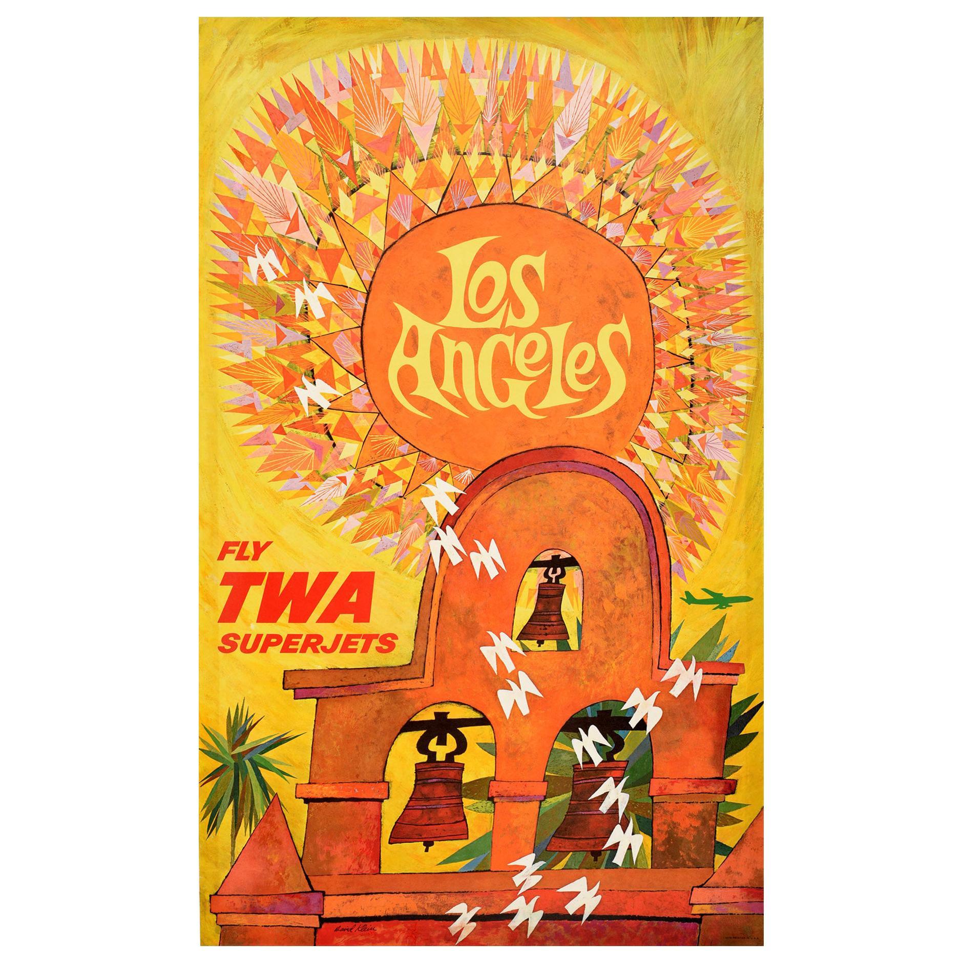 Original Vintage Poster Los Angeles Fly TWA Superjets Mission Bells Travel Art