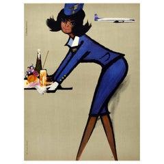 Original Vintage Poster LOT Polish Airlines Polskie Linie Lotnicze Stewardess