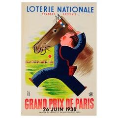 Original Vintage Poster Loterie Nationale Grand Prix De Paris Horse Race Lottery
