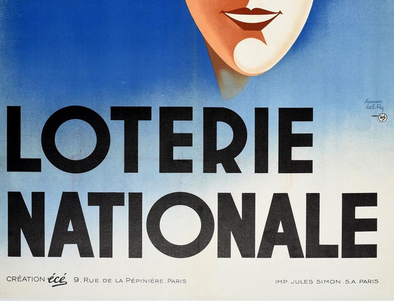 Art Deco Original Vintage Poster Loterie Nationale Try Your Luck National Lottery France For Sale
