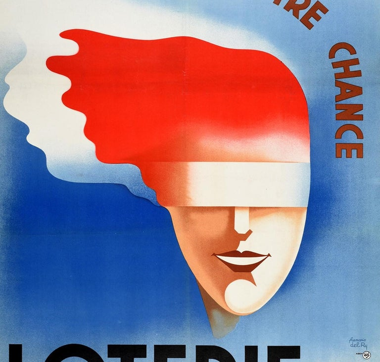 French Original Vintage Poster Loterie Nationale Try Your Luck National Lottery France For Sale