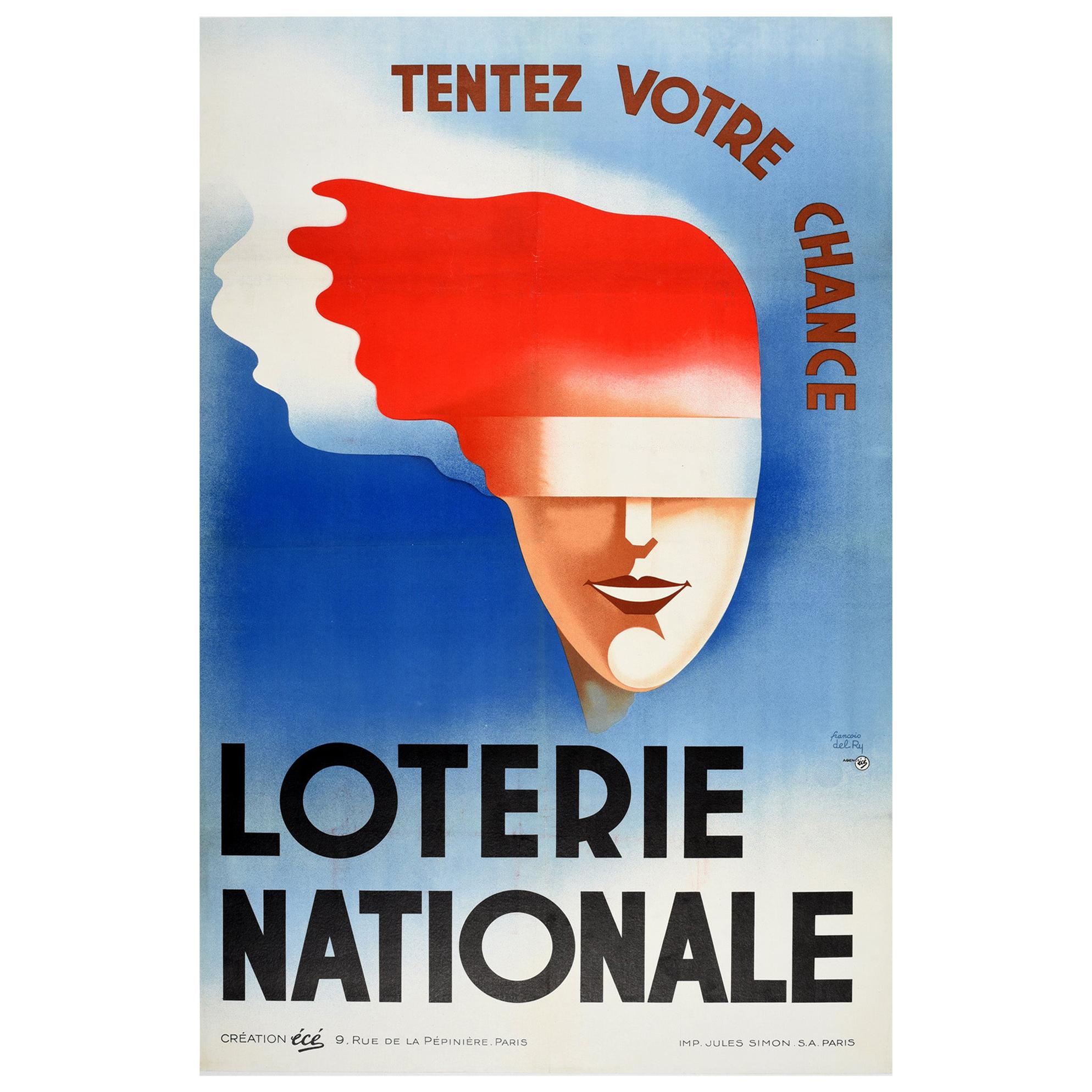 Original Vintage Poster Loterie Nationale Try Your Luck National Lottery France
