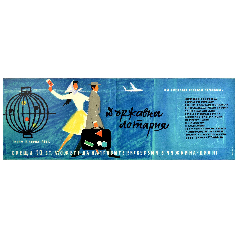 Original Vintage Poster Lottery Bulgaria Midcentury Modern Design Travel Abroad