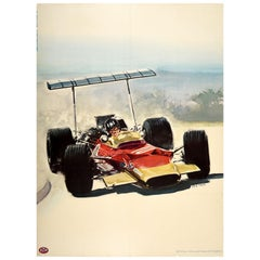 Original Vintage Poster Lotus 49 Formula One Racing Car Graham Hill F1 Champion