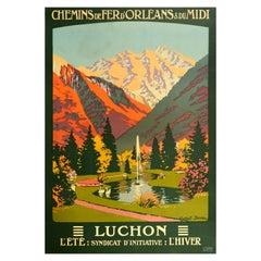 Original Vintage Poster Luchon Ete Hiver Summer Winter Railway Travel Spa Resort