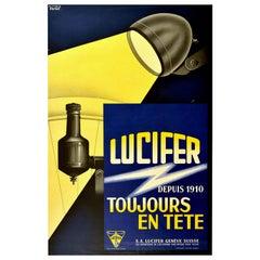 Original Vintage Poster Lucifer Geneva Electrical Bicycle Light Bulb Bike Design