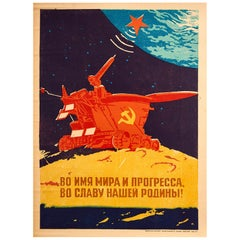 Original Vintage Poster Lunokhod Moonwalker Cold War Space Race Peace & Progress