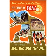 Original Vintage Poster Make A Date With The Sun In Wonderful Kenya BOAC Travel