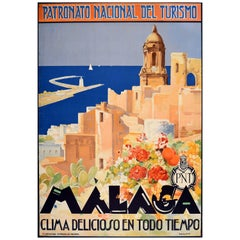 Original Vintage Poster Malaga Cathedral Sailing Mediterranean Sea Travel PNT