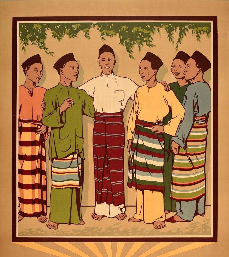 Original vintage travel poster entitled Malaya Land of Sunshine (now Peninsular Malaysia and Singapore) featuring a group of smiling men wearing colourful traditional clothing of a tunic top and trousers (baju melayu), a songkok cap and a sarong