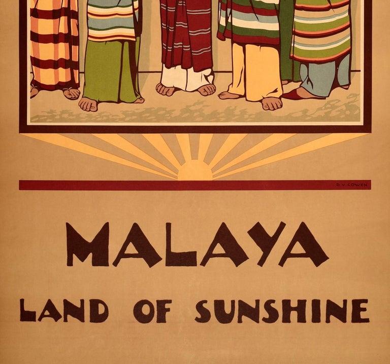 Malaysian Original Vintage Poster Malaya Land Of Sunshine Malaysia Singapore Travel Design For Sale