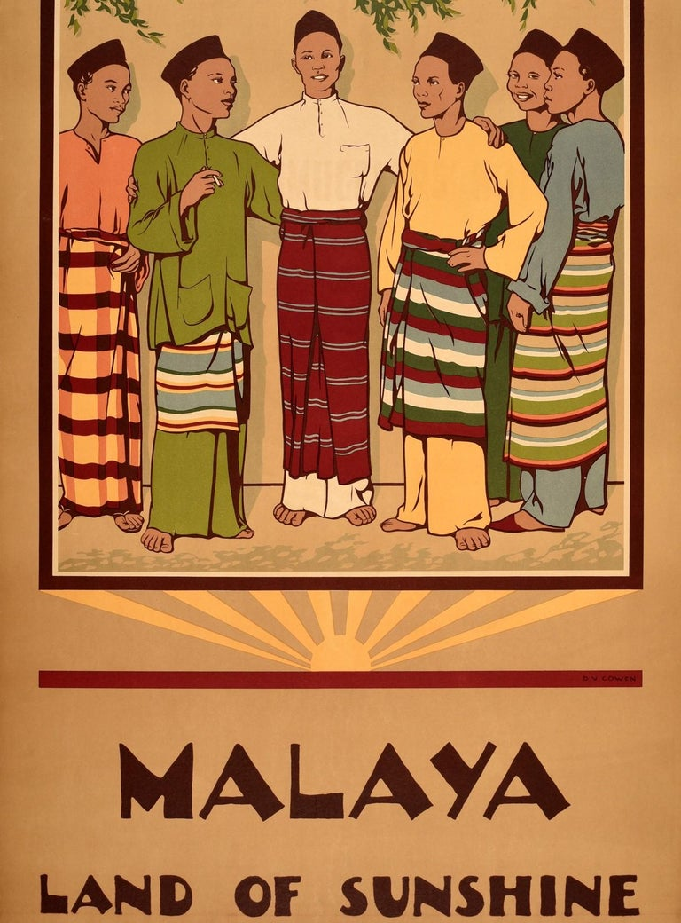 Original Vintage Poster Malaya Land Of Sunshine Malaysia Singapore Travel Design In Good Condition For Sale In London, GB