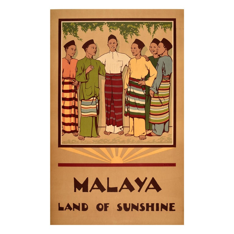 Original Vintage Poster Malaya Land Of Sunshine Malaysia Singapore Travel Design For Sale