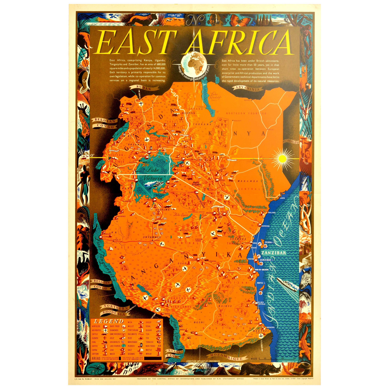 Original Vintage Poster Map East Africa Kenya Uganda Tanganyika Zanzibar Coast