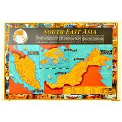 Original Vintage Poster Map South East Asia Malaya Singapore Hong Kong Brunei