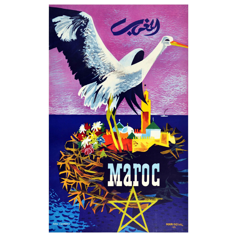 Original Vintage Poster Maroc Morocco North Africa Travel Advertising Art Design