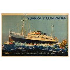 Original Vintage Poster Mediterranean Brazil Cruise Liner Travel Ybarra Ship Art