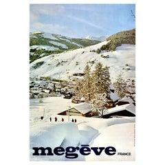 Original Vintage Poster Megeve France Alps Mountains Skiing Winter Sport Resort