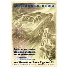 Original Vintage Poster Mercedes Benz 300SL Victory 24h Le Mans Car Race Record