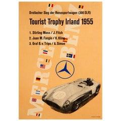 Original Vintage Poster Mercedes Benz 300SLR Motor Racing Ireland Stirling Moss