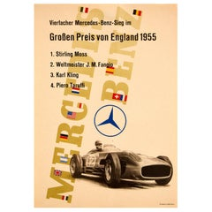 Original Vintage Poster Mercedes Benz British Grand Prix F1 Stirling Moss Fangio