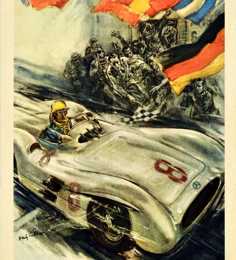 Original vintage double-sided poster published in Swedish by Mercedes Benz to celebrate its racing results in 1954 and 1955. Fantastic illustration on the front depicting a number 8 silver Mercedes-Benz 300 SLR Roadster racing car crossing the
