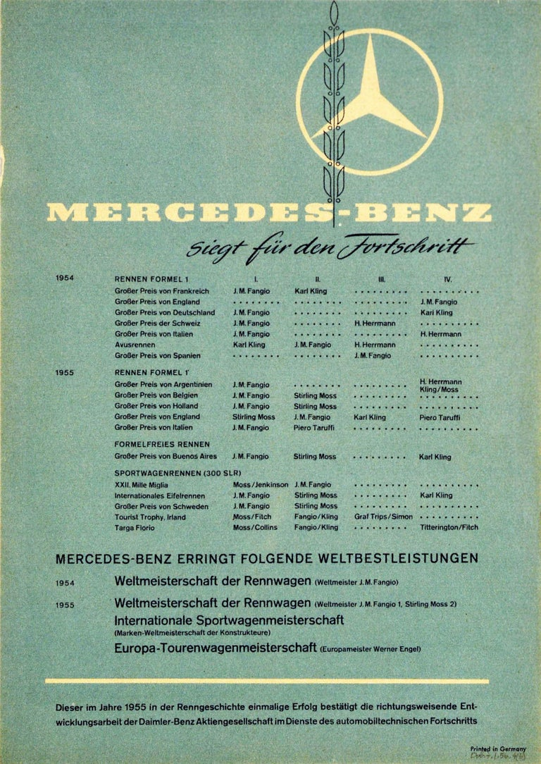 German Original Vintage Poster Mercedes Benz Formula One Grand Prix Car Racing Victory For Sale