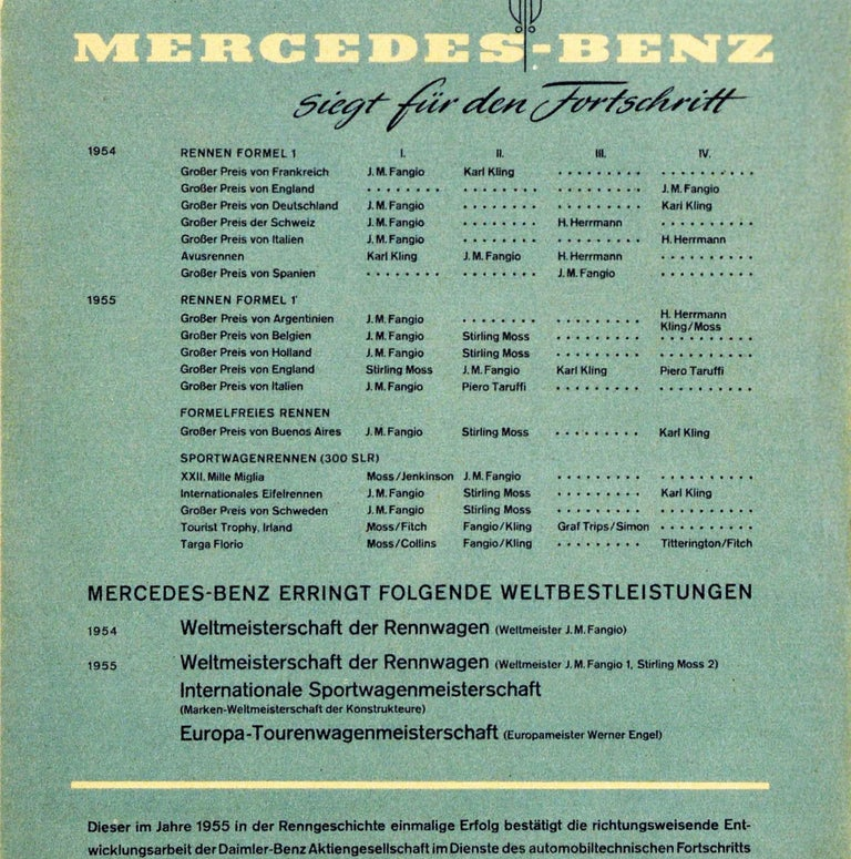 Original Vintage Poster Mercedes Benz Formula One Grand Prix Car Racing Victory In Good Condition For Sale In London, GB